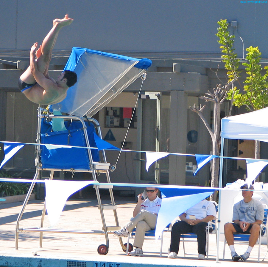 Under the judges' eyes: UCSD diver off the low dive early in the competition.